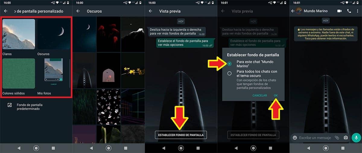 Cambiar fondo de pantalla para un solo chat de WhatsApp