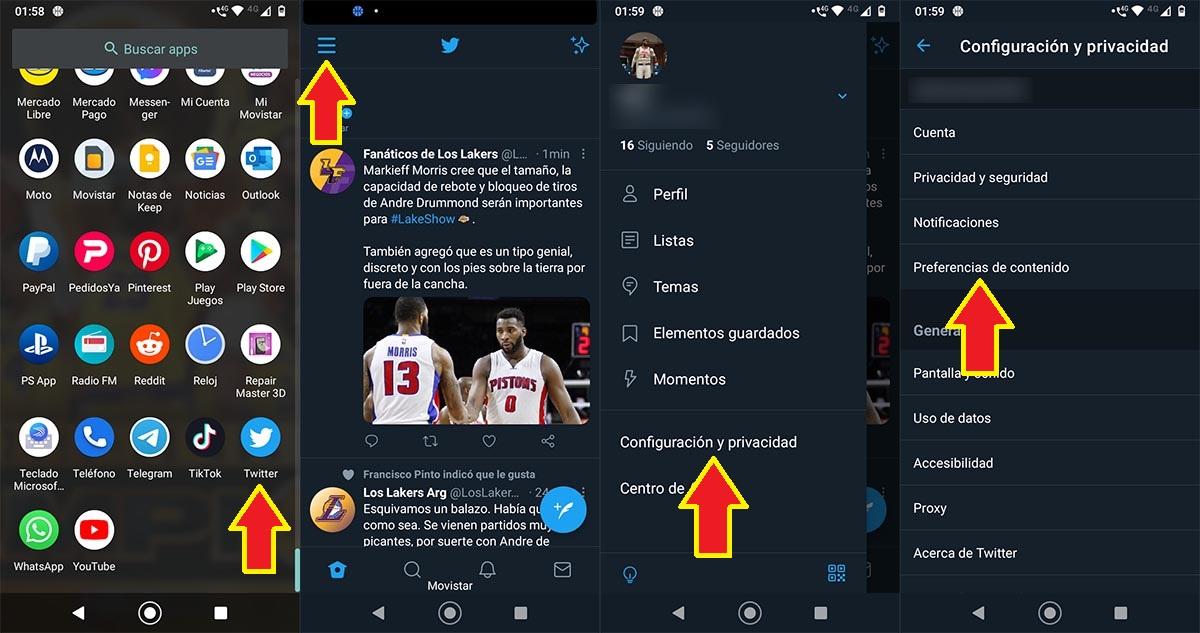 Configuración privacidad Twitter