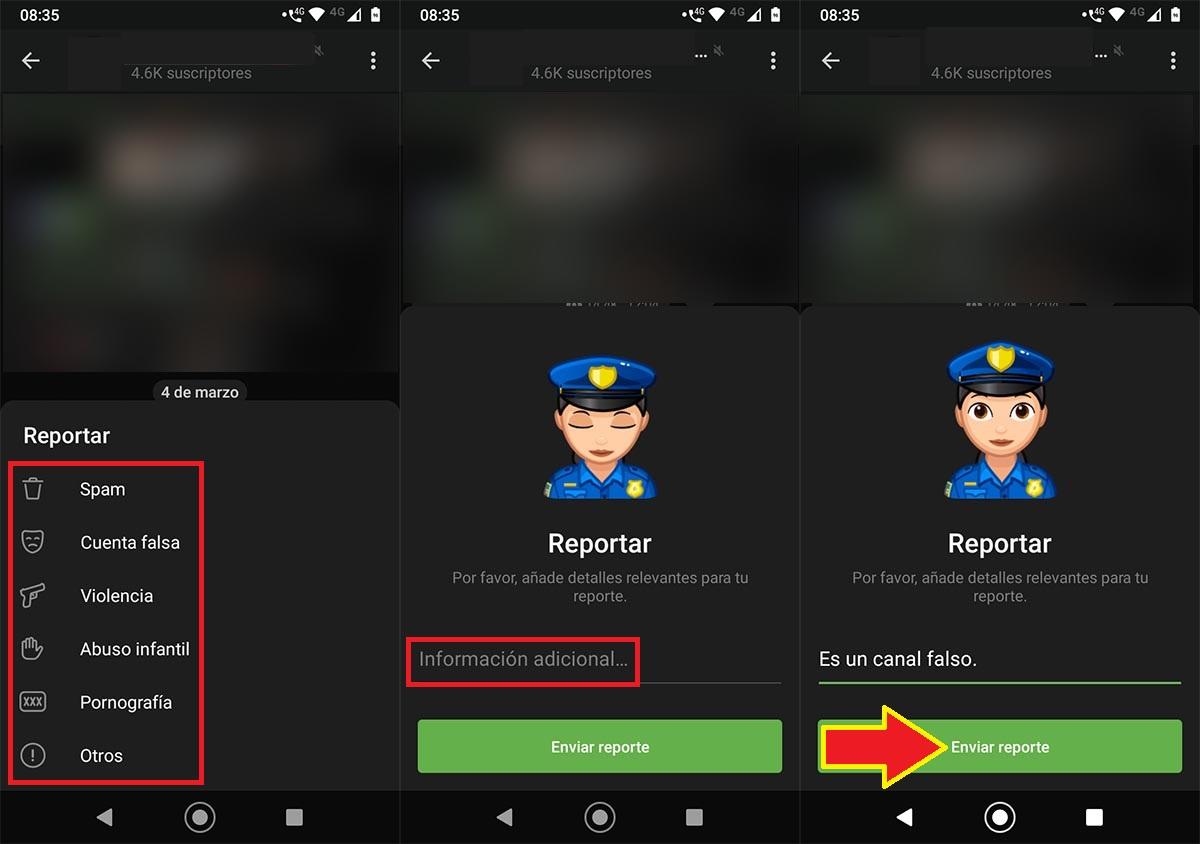 Reportar canal de Telegram