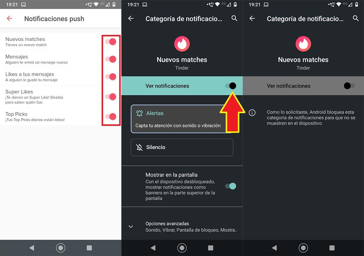 Desactivar notificaciones Tinder Android