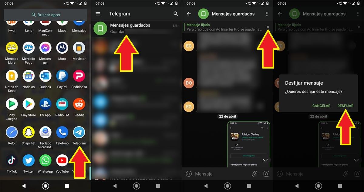 Desfijar un mensaje Telegram