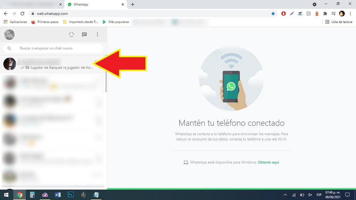 Entrar en un chat WhatsApp Web
