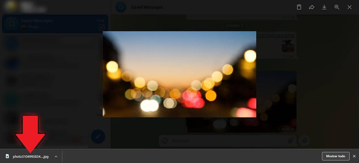 Abrir foto descargada de Telegram Web