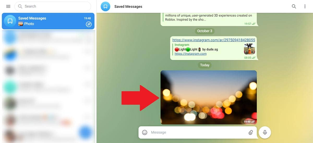 Abrir foto en Telegram Web
