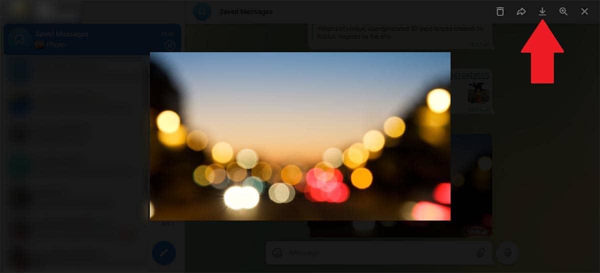Descargar una foto de Telegram Web