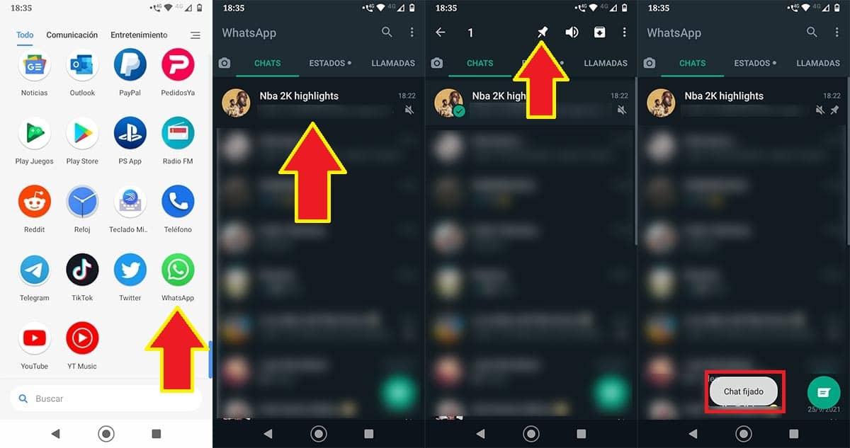 Fijar una conversación en WhatsApp