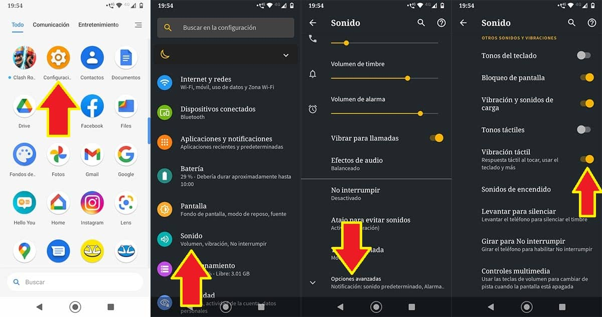Desactivar vibración táctil móvil Motorola